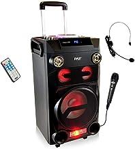 بلندگوی بی سیم بلوتوث قابل حمل Pyle Outdoor Bluetooth Karaoke PA بلندگو - سیستم صوتی ساب ووفر 8 '' با چراغ های DJ ، باتری قابل شارژ ، رادیو FM ، USB / Micro SD Reader ، میکروفون ، از راه دور