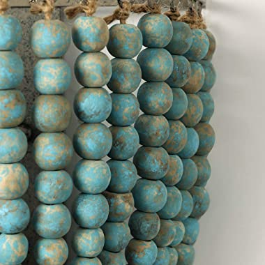Newrays Vintage Wood Bead Wall Lamp Gray Blue Finishing Retro Antique with Hard Wired for Bedroom Fixtures(Blue)