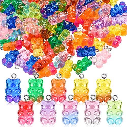 Gradient Süßigkeit Gummiartig Charms Bär 10 Farben Gummiartig Resin Bär Anhänger DIY Halskette für Kinder Mädchen(30 Stücke)
