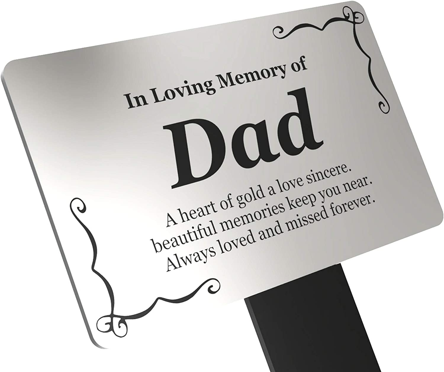 Origin Dad's Memorial Plaque Stake - Black and W Silver Acrylic 限定モデル 売り出し