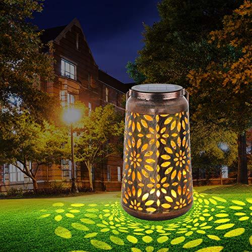 Solarlaterne für Außen Garten Deko - SINJIAlight LED Solarlampe IP44 Wetterfest Solarlampen Garten Laterne für Gartendeko, Balkon, Garten Geschenke, Balkon Tisch, Draussen (1 Pack)