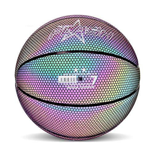 niyin204 - Balón de Baloncesto Luminoso Reflectante, Suave, Profesional, Luminoso, Reflectante, Noche Colorido, Baloncesto, Escuela, formación para niños, Adolescentes y admired