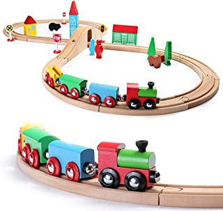 SainSmart Jr. Wooden Train Set for Toddler with Double-Side Train Tracks Fits Brio, Thomas, Melissa and Doug, Kids Wood To...