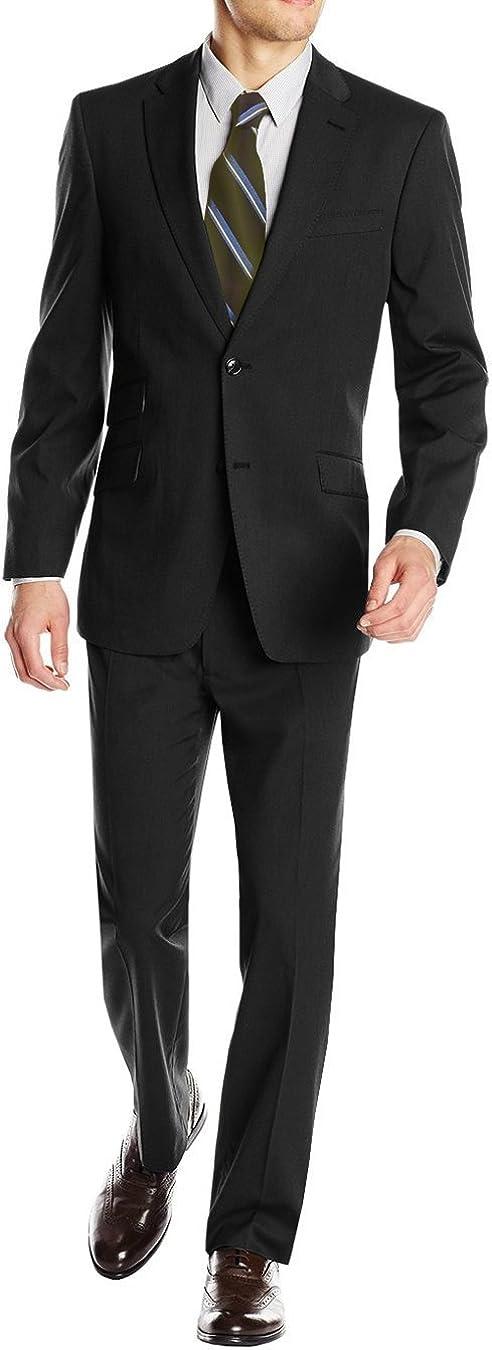DTI GV Executive Italian Men's Two Button Wool Suit Ticket Pocket Jacket 2 Piece