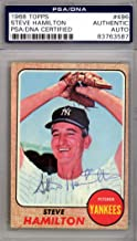 Steve Hamilton Autographed 1968 Topps Card #496 New York Yankees #83763587 - PSA/DNA Certified - NFL Autographed Football Cards