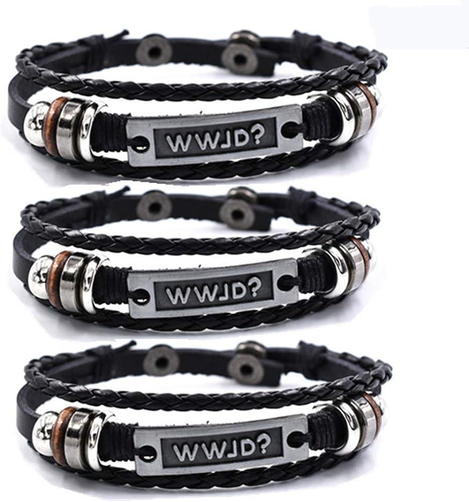 Baltimore Mall Sunling Dainty Braided Leather WWJD Tucson Mall Women for Inspi Bracelet Men