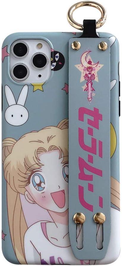 for iPhone Xr Case Cover, Nhật Bản Anime Sailor Moon Case có giá đỡ cổ tay Ốp lưng silicon mềm cho điện thoại iPhone Xs Max XR 6S 7 8 Plus (Xanh nhạt, dành cho iPhone Xr)