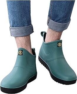 yazidan Men's Waterproof Boots Summer Short Ankle Rain Boots PVC Rubber Rain Boots Slip On Water Shoes