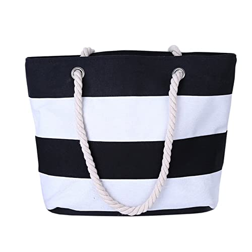 6f03b3f502b147 THEE Beach Bag with Inner Zipper Pocket Canvas Tote with Rope Handles