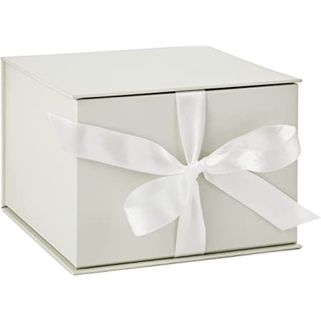 """Hallmark 7"""" Ivory Pearl Gift Box with Lid and Shredded Paper Fill for Weddings, Mothers Day, Bridesmaids Gifts, Engagements, Bridal Showers, Graduations, Christmas, Holidays, Birthdays and More"""