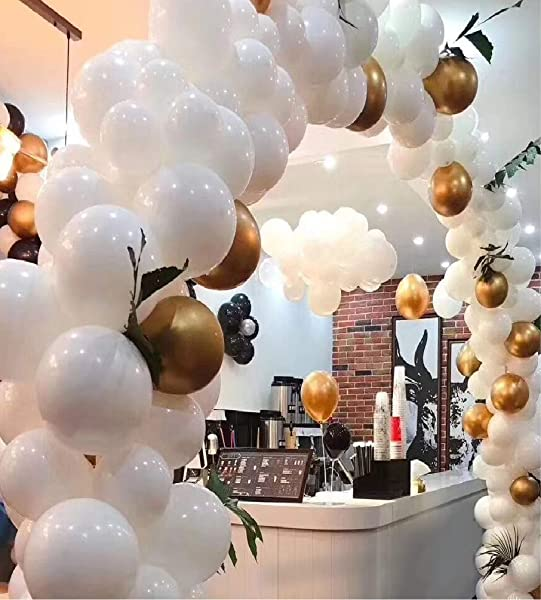 Big White And Gold Balloon Garland Arch Kit Perfect Ballons For Baby Or Wedding Shower Party Decorations Giant White And Gold Baloon Arch Kits Wall