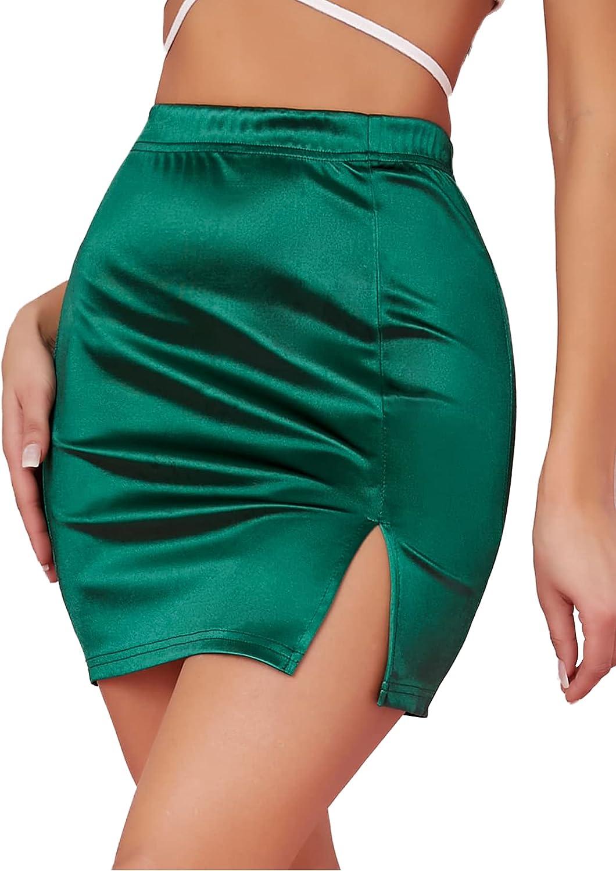 LYANER Women's Satin Silky Elastic Wasit Split Slit Hem Bodycon Short Skirt