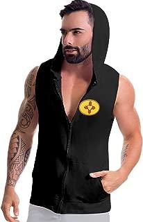 Jriakf Zia Symbol Men's Sleeveless Hooded Sweatshirt Zip-up Hoodies Tank Tops with Pockets