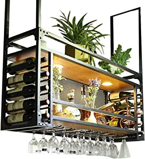 Wine Racks Wall Mounted Ceiling Hanging | Suspended Wine Glass Holder Metal Wood | Cube Wine Bottle Holder Hanging Rack | ...