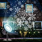 Christmas Projector Lights Outdoor Moving Snowflakes LED Christmas Lights, Waterproof Projector Decorating Stage Light, Indoor Outdoor Snowfall Holiday Party Garden Landscape Lamp