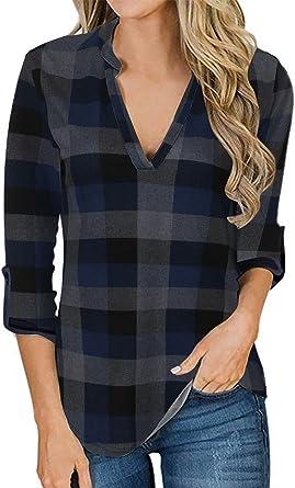 YOINS Camicia Donna Elegante Camicetta Estivo Donna Manica Corta Bluse Camicie a Quadri Blusa Scollo V Casuale
