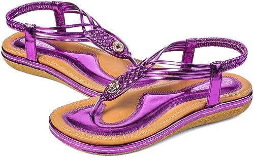 Woherren Sandals Summer Ladies Walking schuhe Beach Sandals Clip Toe Slippers Thongs Wave schuhe T-Shaped Belt Woven Flat Casual schuhe Non-Slip Loose Sandals Größe 4-8,Metal lila,6.5 UK