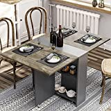 Folding Dining Table, Drop Leaf Dining Table with 6 Wheels and 2-Layer Storage Shelf, Space Saving...