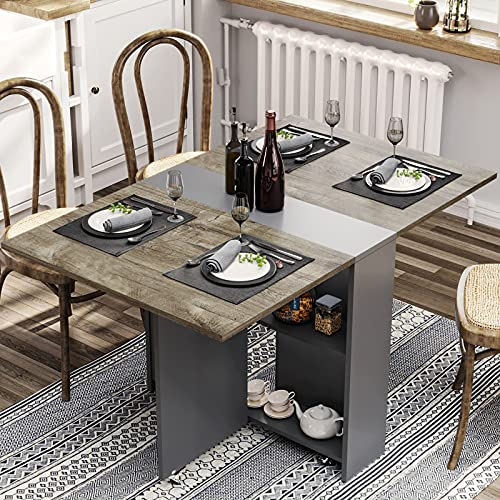Folding Dining Table, Drop Leaf Dining Table with 6 Wheels and 2-Layer Storage Shelf, Space Saving Dining Table for Small Spaces, Chestnut and Gray