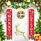 ANVAVA Merry Christmas Banners, New Year Outdoor Indoor Christmas Decorations Hanging Banner Porch Sign Xmas Banners for Home Yard Wall Door Christmas Party Decorations