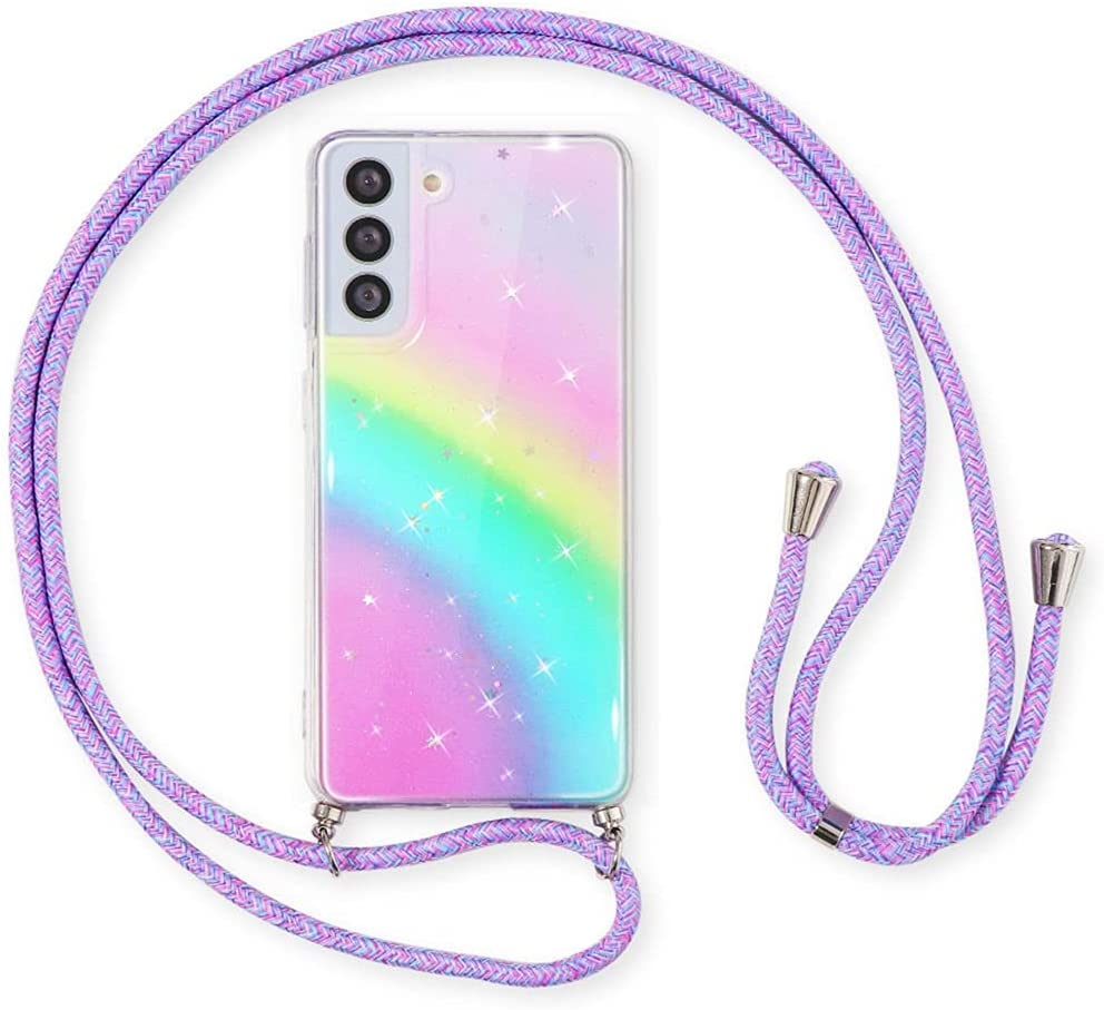 Pnakqil Rainbow Glitter Case for Samsung Galaxy A11 (4G) (6.4 inch), Crossbody Adjustable Necklace Lanyard Cases, Sparkle Luxury Fashion Soft TPU Shockproof Protective cover for Samsung A11 4G, Purple