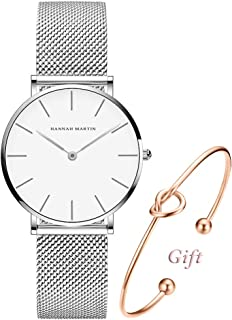 Women's Rose Gold Watch Analog Quartz Stainless Steel Mesh Band Casual Fashion Ladies Wrist Watches with Love Knot Bracelet Gift