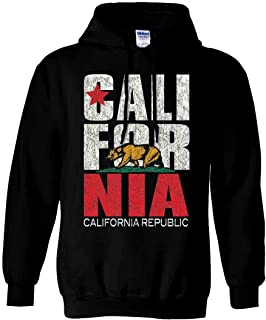 California Flag Vintage Retro Text Asst Colors Hoodie