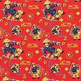 Baumwollstoff Feuerwehrmann Sam, 100% Baumwolle, rot