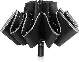 Bodyguard Inverted Umbrella, Windproof Umbrella,12 Ribs Reverse Umbrella with Reflective Stripe, Teflon Umbrella in Rain and Sun, Leather Cover for Women and Men