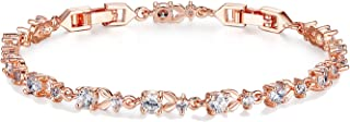 PHKYT Rose Gold Color Chain Link Bracelet for Women Ladies Shining AAA Cubic Zircon Crystal Jewelry