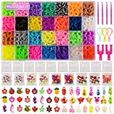 11,860+ Rubber Bands Refill Loom Set: 11,000 DIY Loom Bands 500 Clips, 210 Beads, 46 Charms, Loom Bracelet Making Kit for Kids,Rainbow Bracelet Kit