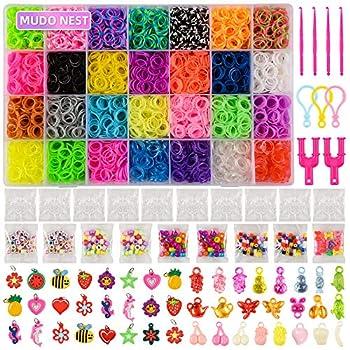 11,860+ Rubber Bands Refill Loom Set  11,000 DIY Loom Bands 500 Clips 210 Beads, 46 Charms Loom Bracelet Making Kit for Kids,Rubber Band Bracelet Kit