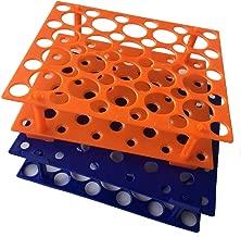 50 Well Orange /Blue Centrifuge Tube Rack for 10ml/15ml/50ml(Two Packs) (Orange/Blue)