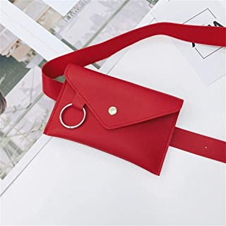 YWSCXMY-AU Fashion Women Pure Color Ring Leather Waist Bag Casual Messenger Shoulder Bag Chest Bag Multi-Function Pockets (Color : Red)