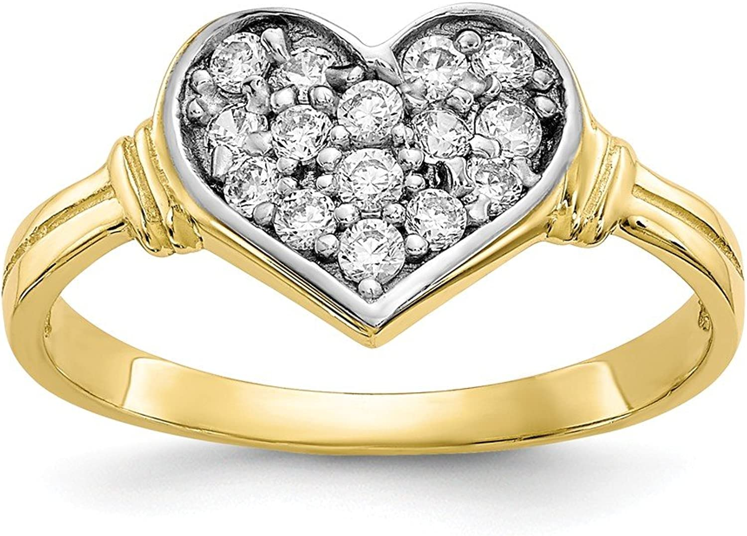 10k Yellow gold CZ Heart Ring for Women Size 6