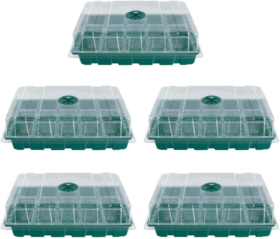 15 Zellen, Gr/ün 5 St/ücke Zimmergew/ächshaus Anzuchtkasten Treibhaus Anzuchtschale Mini Gew/ächshaus Anzuchtset mit Deckel und Bel/üftung Keimschalen Pflanzschalen Keimlinge Anzuchtschalen