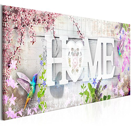 murando Akustikbild Home 135x45 cm Bilder Hochleistungsschallabsorber Schallschutz Leinwand Akustikdämmung 1 TLG Wandbild Raumakustik Schalldämmung - Blumen Kolibri m-C-0266-b-b