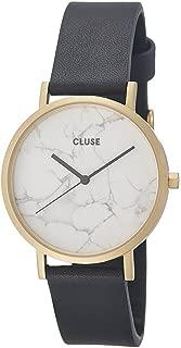 La Roche Gold White Marble Black CL40003 Women's Watch 38mm Leather Strap Minimalistic Design Casual Dress Japanese Quartz Elegant Timepiece