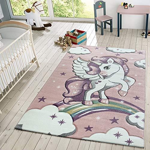 TT Home Kinder Teppich Moderner Spielteppich Einhorn Sternen Design Mit Wolken Rosa, Größe:Ø 120 cm Rund