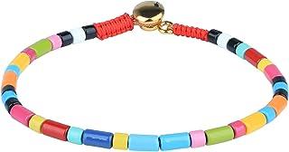 KELITCH Pulseras elásticas Coloridas Pulseras con Cuentas Multicolores Pulseras de Brazalete de Esmalte para Mujer Joyas d...