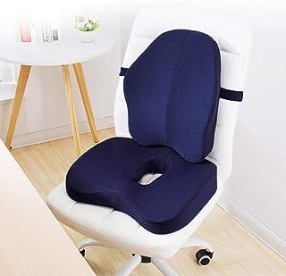 Cojín de asiento de espuma de memoria almohadas ortopédicas oficina coxis hemorroides asiento de coche cojín del respaldo lumbar cojín de la silla Butt 2 PC sets,A