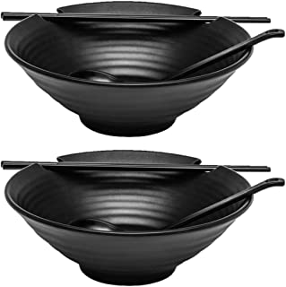 2 x Ramen Bowl Set (Black Melamine), 6pcs Japanese Style Soup Bowls Set with Chopsticks, Ladle Spoons Set and Large 37 oz Bowl for Ramen, Pho, Noodles, Asian dishes