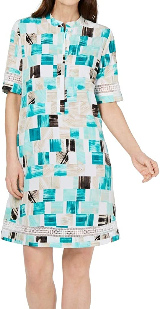 Alfani Square Print Crochet Trim Shirtdress