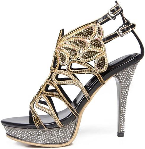 SASA Romain femmes été Stiletto Sandales à Talons Hauts Hauts Strass Strappy Talon Bal Chaussures de Mariage Grande Taille 10, Noir, US6.5-7 EU37 UK4.5-5 CN37  obtenir la dernière