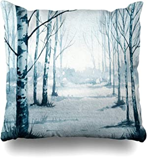 Ahawoso Throw Pillow Cover Sketch Blue Winter Birch Forest Watercolor Nature Sky Drawing Painting Tree Design Home Decor Pillowcase Square Size 20