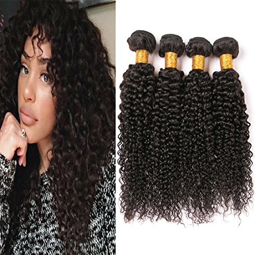 Brazilian Afro Kinkys Curly Hair Bundles Grade 8A Jerry Curly 4 Bundles Unprocessed Virgin Human Hair Extensions Weave Vendor Tight Curl Bundles Natrual Color Can Be Dyed And Bleached 10 12 14 16 Inch