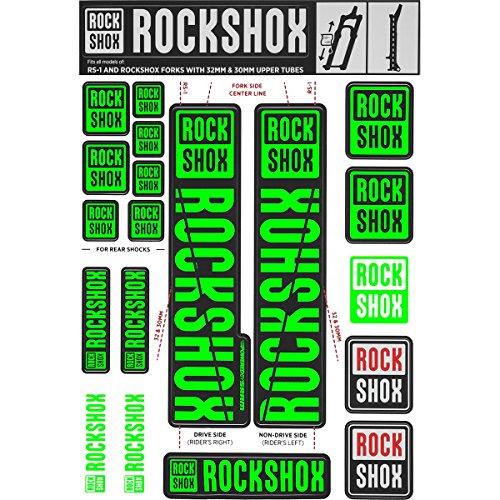 RockShox Aufklebersatz 30/32mm und RS1 neongrün, SID/Reba/Revelation (<2018) Sektor/Recon/X32/30G/30S/XC30, 11.4318.003.501 Ersatzteile, grün, Standrohre