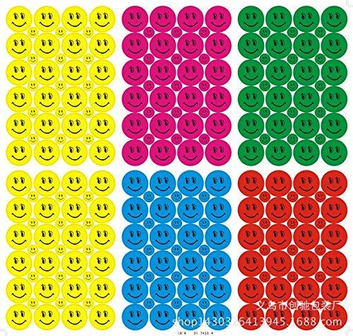 BLOUR 5 Farben Cartoon Kinder Aufkleber Lächeln Gesicht Smiley Spielzeug Belohnung Aufkleber Schullehrer Verdienst Lob Klasse Klebriges Papier Etikett