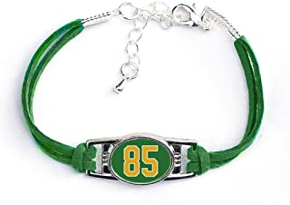 Number Charm Bracelet (00-99) Jersey Style in Team Colors (Forest Green & Gold)