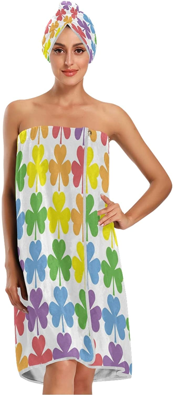 Import Bath Wrap Towels for Women Rainbow Shower Velcro Max 62% OFF Clover Wr Color